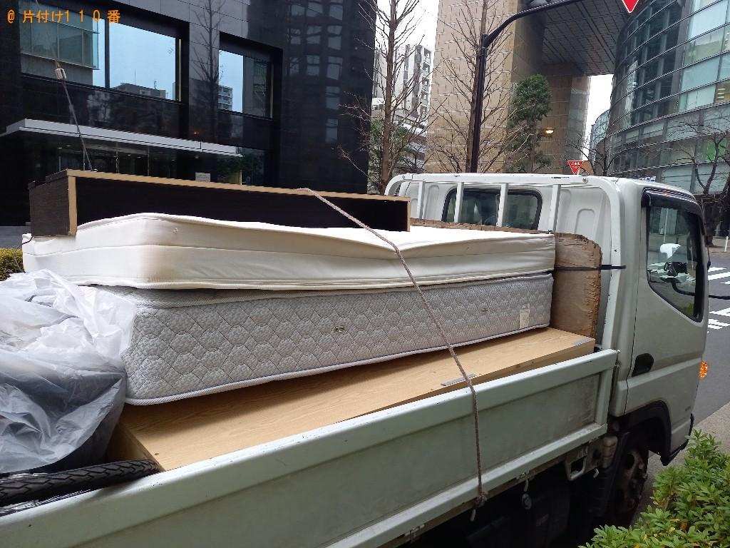 【松江市】マットレス付きダブルベッドの回収・処分ご依頼